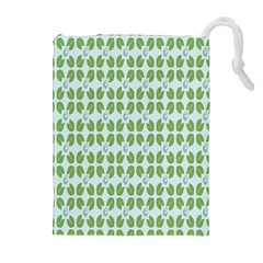 Leaf Flower Floral Green Drawstring Pouches (Extra Large) by Alisyart