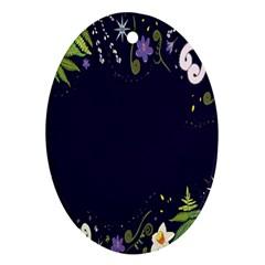 Spring Wind Flower Floral Leaf Star Purple Green Frame Oval Ornament (two Sides) by Alisyart