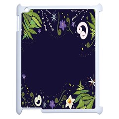 Spring Wind Flower Floral Leaf Star Purple Green Frame Apple Ipad 2 Case (white) by Alisyart