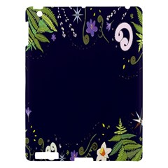 Spring Wind Flower Floral Leaf Star Purple Green Frame Apple Ipad 3/4 Hardshell Case by Alisyart