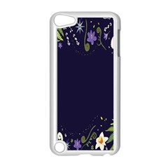 Spring Wind Flower Floral Leaf Star Purple Green Frame Apple Ipod Touch 5 Case (white) by Alisyart