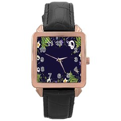 Spring Wind Flower Floral Leaf Star Purple Green Frame Rose Gold Leather Watch  by Alisyart