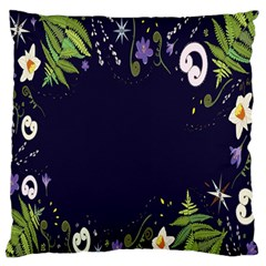 Spring Wind Flower Floral Leaf Star Purple Green Frame Large Flano Cushion Case (two Sides) by Alisyart