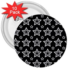 Star Black White Line Space 3  Buttons (10 Pack)  by Alisyart