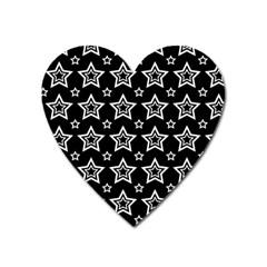 Star Black White Line Space Heart Magnet by Alisyart
