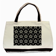 Star Black White Line Space Basic Tote Bag (two Sides) by Alisyart