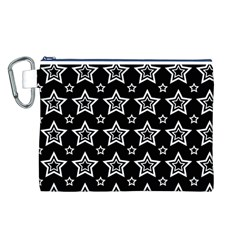 Star Black White Line Space Canvas Cosmetic Bag (l) by Alisyart