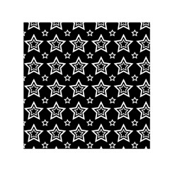 Star Black White Line Space Small Satin Scarf (square) by Alisyart