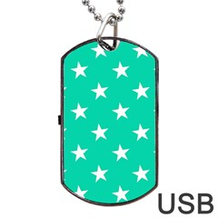 Star Pattern Paper Green Dog Tag Usb Flash (one Side) by Alisyart