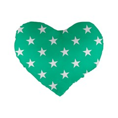 Star Pattern Paper Green Standard 16  Premium Flano Heart Shape Cushions by Alisyart