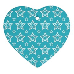 Star Blue White Line Space Sky Heart Ornament (two Sides) by Alisyart