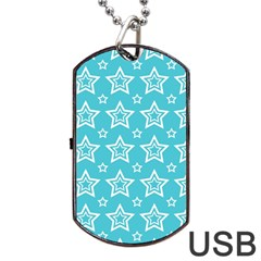Star Blue White Line Space Sky Dog Tag Usb Flash (two Sides) by Alisyart