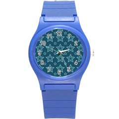 Star Blue White Line Space Round Plastic Sport Watch (s) by Alisyart