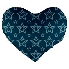 Star Blue White Line Space Large 19  Premium Flano Heart Shape Cushions by Alisyart