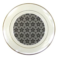 Star Grey Black Line Space Porcelain Plates by Alisyart