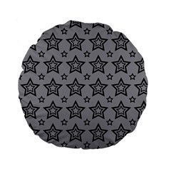 Star Grey Black Line Space Standard 15  Premium Flano Round Cushions by Alisyart