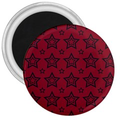 Star Red Black Line Space 3  Magnets by Alisyart