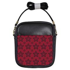 Star Red Black Line Space Girls Sling Bags by Alisyart