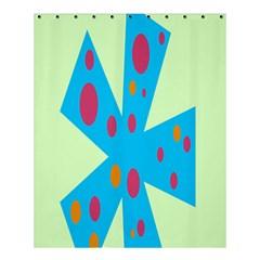 Starburst Shapes Large Circle Green Blue Red Orange Circle Shower Curtain 60  X 72  (medium)  by Alisyart