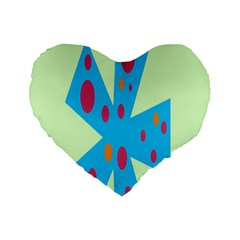 Starburst Shapes Large Circle Green Blue Red Orange Circle Standard 16  Premium Flano Heart Shape Cushions by Alisyart