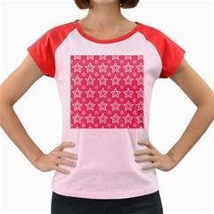 Star Pink White Line Space Women s Cap Sleeve T Shirt by Alisyart