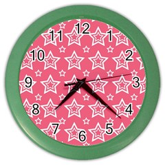 Star Pink White Line Space Color Wall Clocks by Alisyart