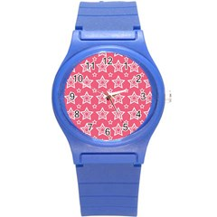 Star Pink White Line Space Round Plastic Sport Watch (s) by Alisyart