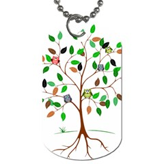 Tree Root Leaves Owls Green Brown Dog Tag (one Side) by Simbadda