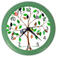 Tree Root Leaves Owls Green Brown Color Wall Clocks by Simbadda