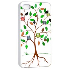 Tree Root Leaves Owls Green Brown Apple Iphone 4/4s Seamless Case (white)