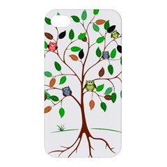 Tree Root Leaves Owls Green Brown Apple Iphone 4/4s Hardshell Case by Simbadda