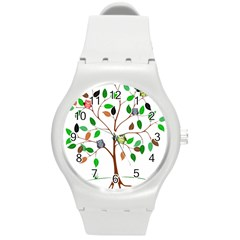 Tree Root Leaves Owls Green Brown Round Plastic Sport Watch (m) by Simbadda