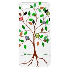 Tree Root Leaves Owls Green Brown Apple Iphone 5 Hardshell Case by Simbadda