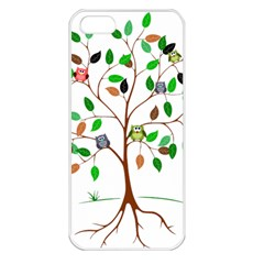 Tree Root Leaves Owls Green Brown Apple Iphone 5 Seamless Case (white) by Simbadda