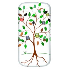 Tree Root Leaves Owls Green Brown Samsung Galaxy S3 S Iii Classic Hardshell Back Case by Simbadda