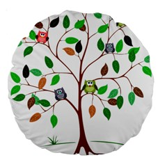 Tree Root Leaves Owls Green Brown Large 18  Premium Round Cushions by Simbadda