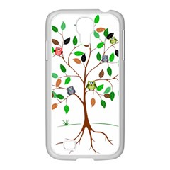 Tree Root Leaves Owls Green Brown Samsung Galaxy S4 I9500/ I9505 Case (white) by Simbadda