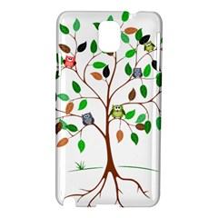 Tree Root Leaves Owls Green Brown Samsung Galaxy Note 3 N9005 Hardshell Case by Simbadda