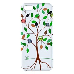 Tree Root Leaves Owls Green Brown Iphone 5s/ Se Premium Hardshell Case by Simbadda