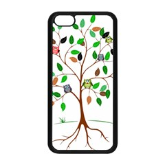 Tree Root Leaves Owls Green Brown Apple Iphone 5c Seamless Case (black) by Simbadda