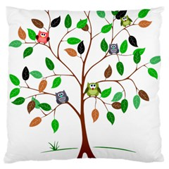 Tree Root Leaves Owls Green Brown Standard Flano Cushion Case (two Sides) by Simbadda