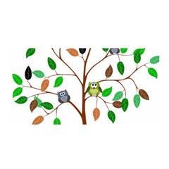 Tree Root Leaves Owls Green Brown Satin Wrap by Simbadda
