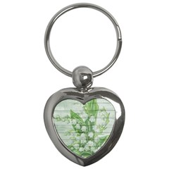 On Wood May Lily Of The Valley Key Chains (heart)  by Simbadda