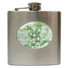 On Wood May Lily Of The Valley Hip Flask (6 Oz) by Simbadda