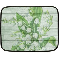 On Wood May Lily Of The Valley Fleece Blanket (mini) by Simbadda