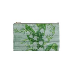 On Wood May Lily Of The Valley Cosmetic Bag (small)  by Simbadda