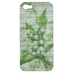 On Wood May Lily Of The Valley Apple Iphone 5 Hardshell Case by Simbadda