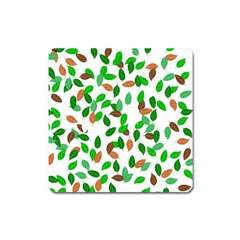 Leaves True Leaves Autumn Green Square Magnet by Simbadda
