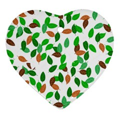 Leaves True Leaves Autumn Green Heart Ornament (two Sides) by Simbadda