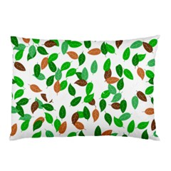 Leaves True Leaves Autumn Green Pillow Case by Simbadda